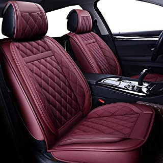 West Leathers Car Seat Covers, Leather Automotive Vehicle Cushion Cover for Cars SUV Pick-up Truck Universal Fit Set for Auto Interior Accessories (Red)
