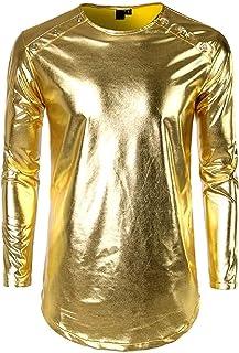 YYG Men Long Sleeve Fashion Button Up Club Nightclub Prom T-Shirt Tee Top