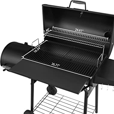 Royal Gourmet CC1830SC Charcoal Grill Offset Smoker with Cover, 811 Square Inches, Black, Outdoor Camping