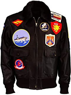 KAAZEE Men's Top Multiple Sticker Gun Hi-Quality Pilot Flying Brown Shearling Fur Leather Jacket