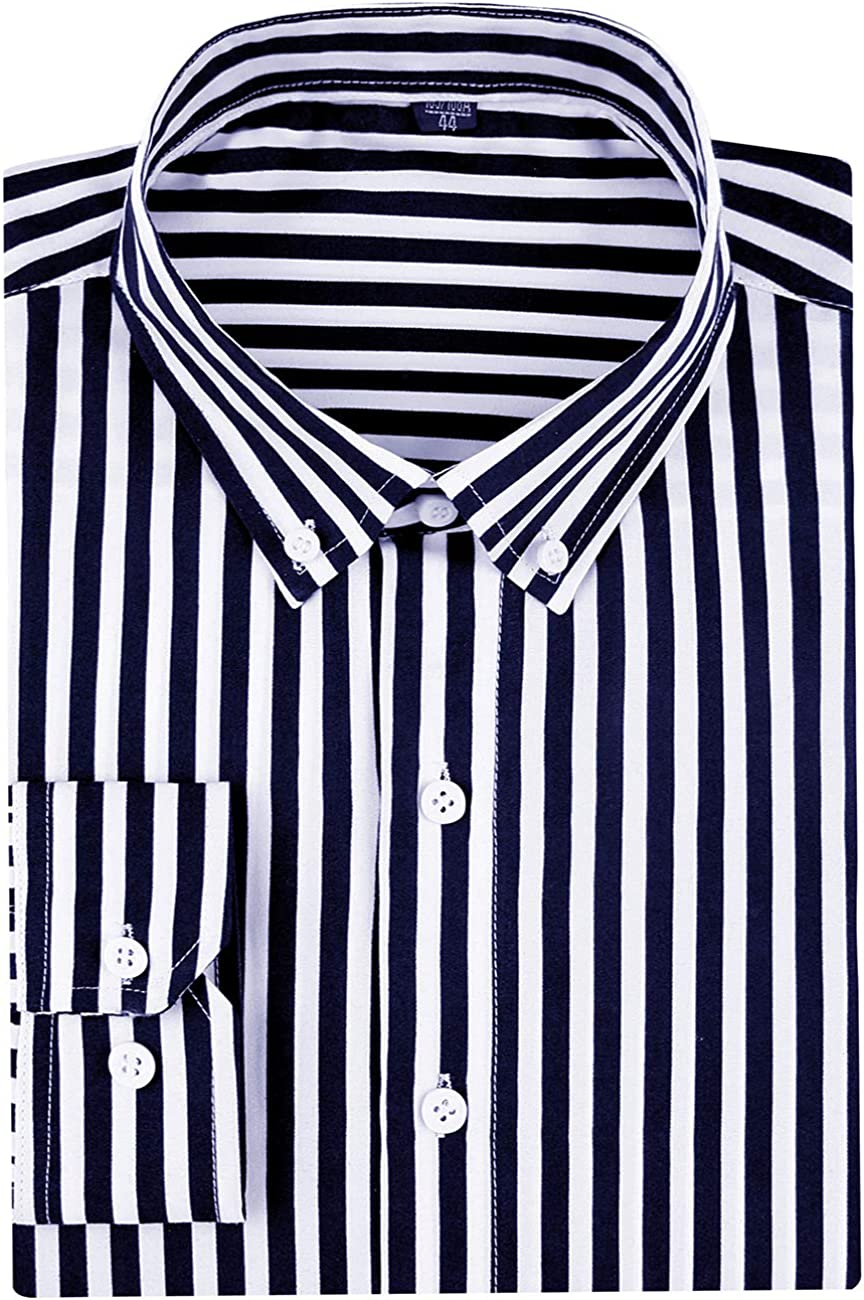DOKKIA Men's Casual Business Long Sleeve Vertical Striped Slim Fit Dress Shirts