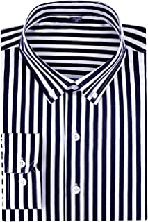 DOKKIA Men's Casual Business Sleeved Vertical Striped Slim Fit Dress Shirts