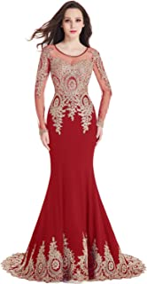Crystals Beaded Lace Mermaid Evening Dress for Women Formal