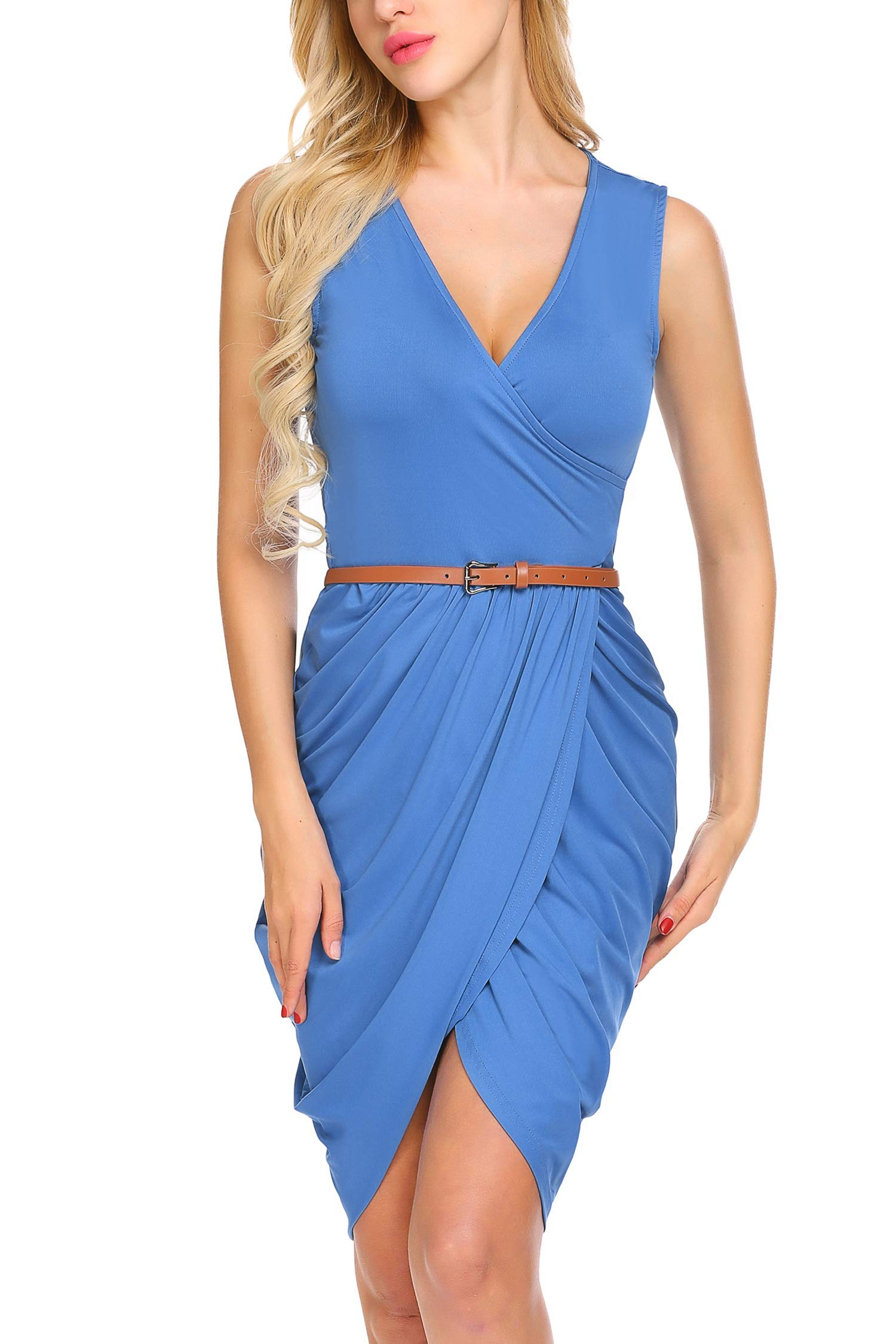 Available at Amazon: Meaneor Women V-Neck Sleeveless Solid Draped Ruched Mini Belt Dress