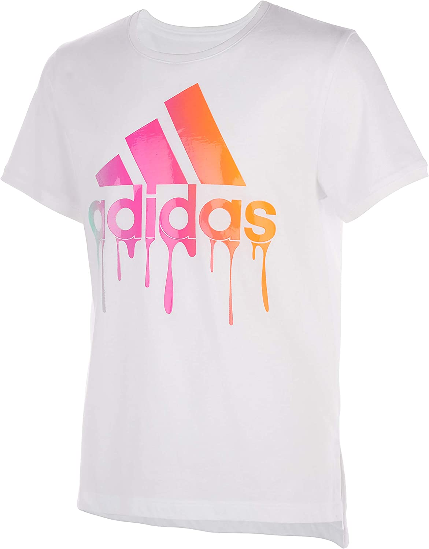 adidas Girls' Short Sleeve Drop Tail Tee