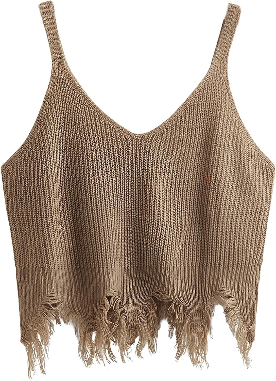 Romwe Women's Plus Size Sleeveless Distressed Hem V Neck Ribbed Tank Crop Tops Vest