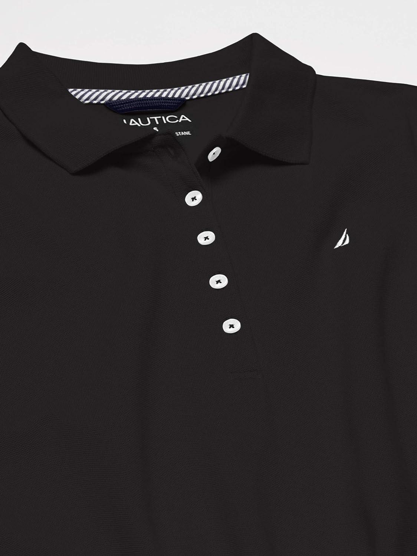 Nautica Women's 5-Button Short Sleeve Cotton Polo Shirt