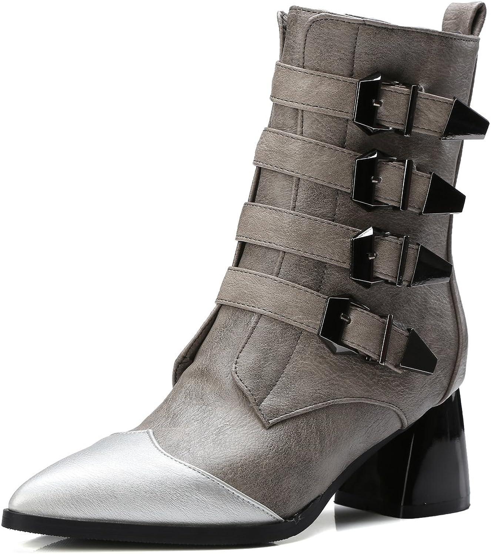 AIWEIYi Womens Pointed Toe Buckles Strap Platform Combat Chunky Heel Martin Boots Black