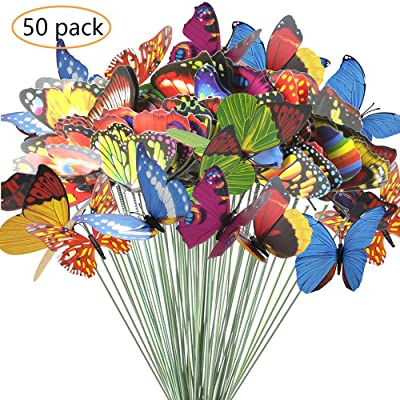 ANDERK Lot de 50 Papillons colorés sur bâtons pour décoration de Plantes, Cour, Jardin