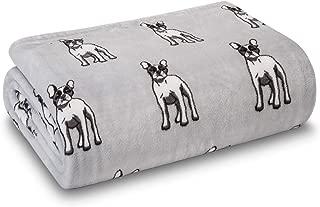HowPlum Dog Frenchie French Bulldog Blanket Throw Velvet Plush Cozy Animal Pet Lover, Grey