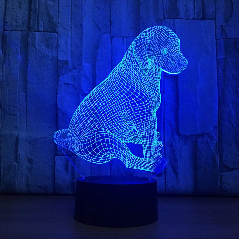 Laofan Hund 3D Tischlampe führte Hund 3D Nightlight Kinder Geburtstag Geschenk USB Home Decoration,Fernbedienung