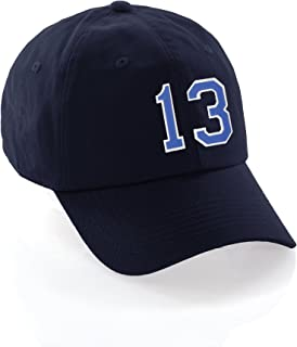 I&W Hatgear Customized Number Hat 00 to 99 Team Colors Baseball Cap, Navy Hat White Blue