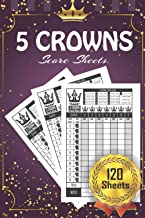 5 Crowns Score Sheets: 120 Score pads for Score Keeping (5 Crowns )...Golden Pattern Purple Cover Design