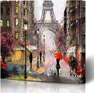 Ahawoso Canvas Prints Wall Art Printing 16x16 Watercolor Woman Oil Painting On Canvas Street View Paris Colorful French France Umbrella Famous Painting Artwork Home Living Room Office Bedroom Dorm