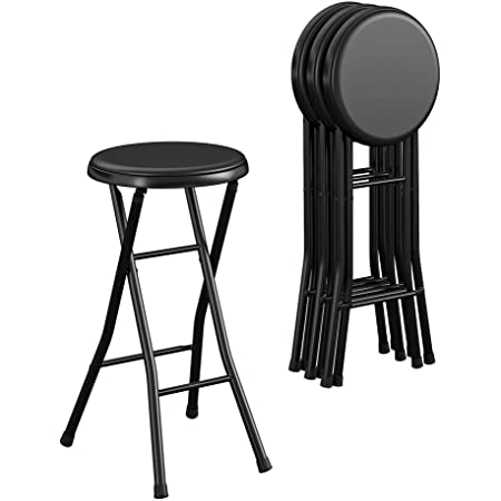 """CoscoProducts COSCO 24"""" Vinyl Padded Folding Stool, Black, 4-Pack"""