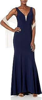 Xscape Women's Long Ity Vneck Dress