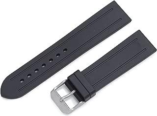 ZC-22GRV BLACK 22 Format 4 Groove Rubber Watch Strap