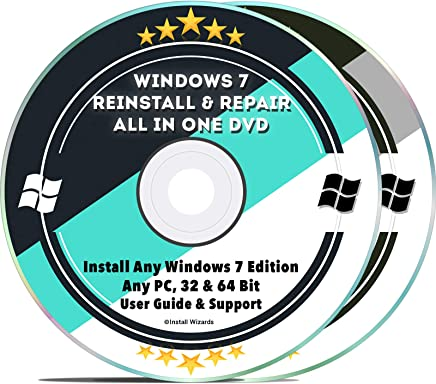 Windows 7 Repair & Reinstall Disc Set: Recovery Reboot Restore Fix Factory Reset - 32 & 64 Bit PC Computer Home Premium, Professional, Ultimate etc. + Drivers Install 2019 (2 DVD Set)