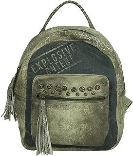 Sunsa Damen Rucksack Backpack kleine Schultertasche Umhängetasche Ranzen Daypack Vintagetasche in Vintage Retro Design Damentasche Frauentasche Canvas mit Leder klein Rucksäcke für Frau.
