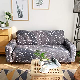 Ihoming Printed Stretch Sofa Slipcover Loveseat Slipcover Couch Slipcover with 2 Free Pillow Covers, 2/3/4/ Seat Sofa Covers(Sofa-4seat, White Flowers)