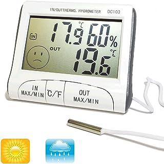 Digital Series–Termómetro, higrómetro, digital, mide la temperatura y la humedad, para interior y exterior, con sonda