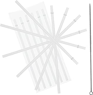 10.5 Inch, Set of 6 Clear Replacement Acrylic Straws and 1 Nylon Straw Cleaning Brush for 16oz, 20oz, 24oz Tumblers... (Clear, 10.5)