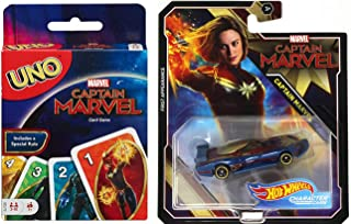 Avengers an Epic Deck Takes Flight! Captain Marvel Movie Cosmic Crush Wild Uno Card Game Super Hero Pack & Car Hero Wheels Race Car 2 Items Bundle