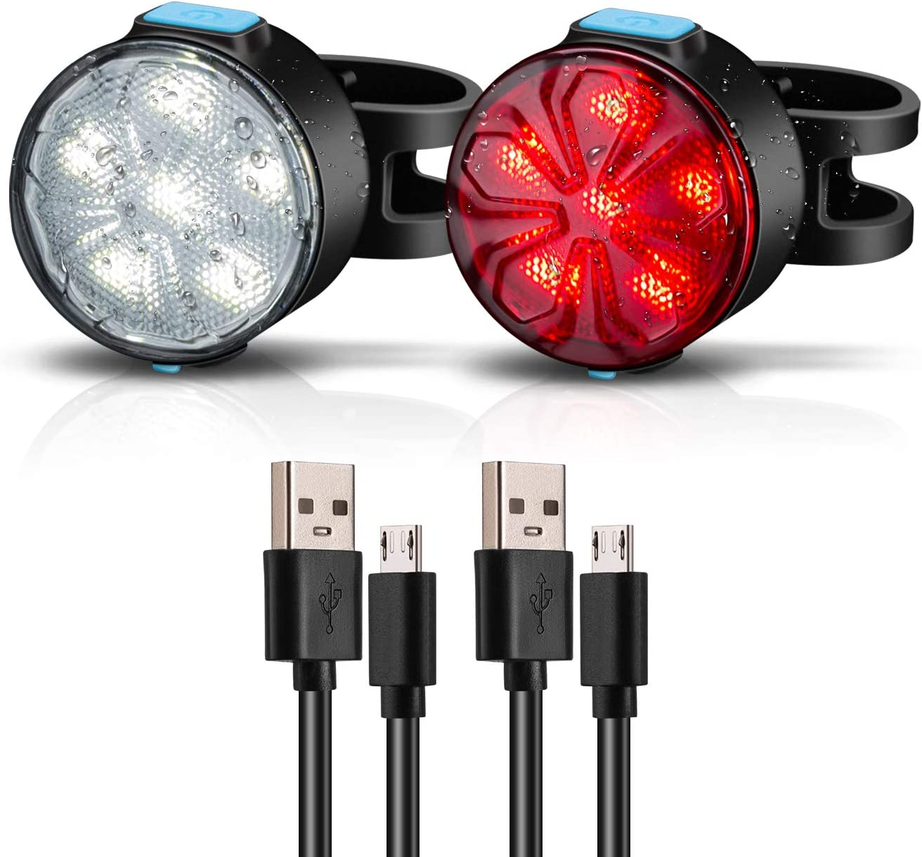 Aiguozer 2021 new 2 Pack USB Rechargeable Bike Lights Set Milwaukee Mall LED Light
