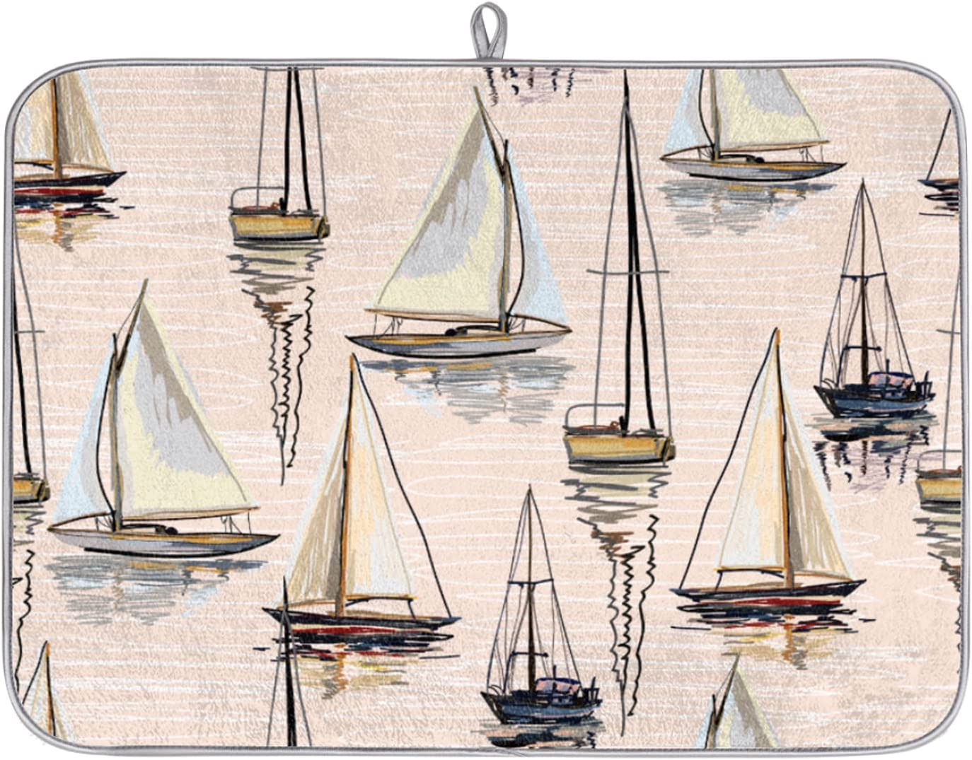 Dish Drying Mat Sailboat Pattern Kitchen Counter Absorbent quality assurance Columbus Mall M for