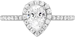 1.22 ct Brilliant Pear Cut Solitaire with accent Highest Quality Moissanite Ideal VVS1 D & Simulated Diamond Engagement Promise Statement Anniversary Bridal Wedding Ring Real Solid 14k White Gold