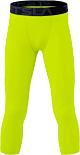 TSLA 1 or 2 Pack Boys Youth UPF 50+ Compression Pants Baselayer, Cool Dry Active Running Tights, Sports 4-Way Stretch Work...