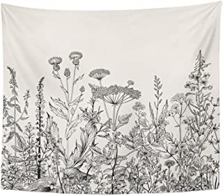 """Emvency Tapestry Floral Border Herbs and Wild Flowers Botanical Engraving Style Black and White Home Decor Wall Hanging 50"""" x 60"""" Inches Print for Living Room Bedroom Dorm"""