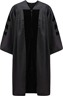 Unisex Deluxe Doctoral Graduation Gown,Black Fabric and Black Velvet
