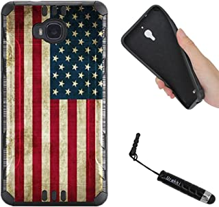 URAKKI Case, Black Hybrid 2-Layer Rugged Armor Hard Cover Case Compatible with Huawei Ascend XT H1611 (2016) / (NOT for) Ascend XT2 H1711 (2017) [Vintage American Flag] Case