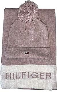 Tommy Hilfiger Women's Border Logo Pom Hat and Scarf Set...