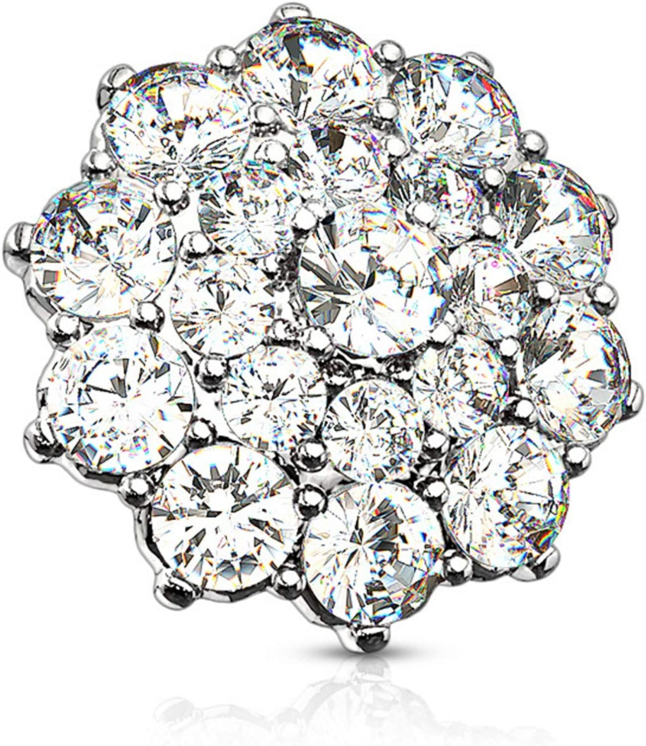 BYB Jewelry CZ Cluster Surgical Steel Dermal Anchor Top