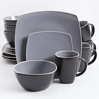 Gibson Elite Soho Lounge Matte Glaze 16 Piece Dinnerware Set in Gray; Includes 4 Dinner Plates; 4 Dessert Plates, 4 Bowls and 4 Mugs