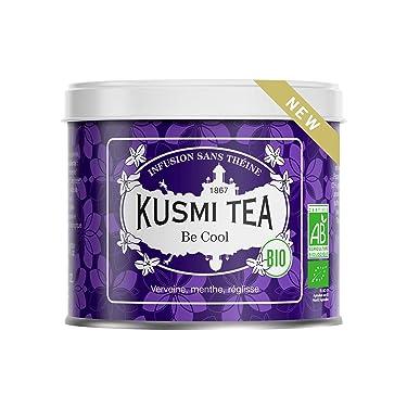 Kusmi Tea - Infusión Bio Be Cool - Mezcla de plantas, menta piperita, regaliz y manzana - Tisana ecológica, sin teína, a granel - Lata de 90 g