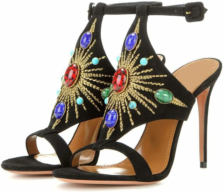 AIWEIYi Womens Suede Rhinestone Stilettos Ankle Strap High Heels Dress Sandals Black