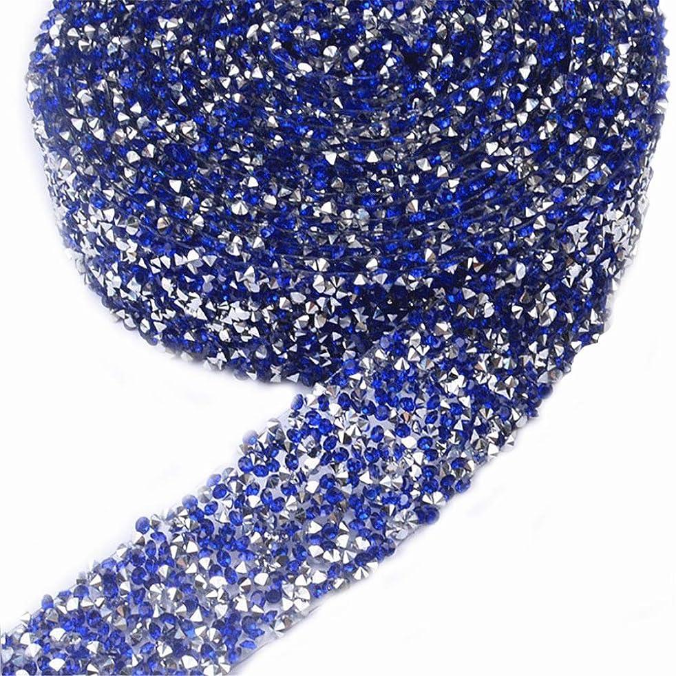 EORTA 1Yard X 3CM Rhinestone Beaded Trim Sparkling Crystal Rhinestone Hotfix Ribbon Iron on Applique Bling Chain Banding Belt for DIY Wedding Bridal Dress Embellishment Phone Wall Decor, Dark Blue