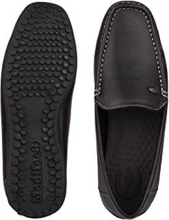 Medifeet Men Comfortable Leather Lofers in Black Colour/Casual Shoes Loafer Shoes for Men's, Boys