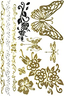 Allydrew Large Metallic Gold Silver and Black Body Art Temporary Tattoos, Dragonfly & Butterfly