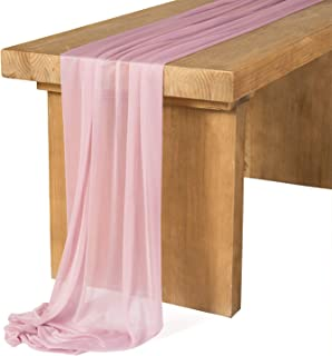 Ling's moment Extra Long 14Ft Chiffon Table Runner Dusty Rose Sheer Table Runner for Rustic Boho Wedding Party Bridal Shower Decoration