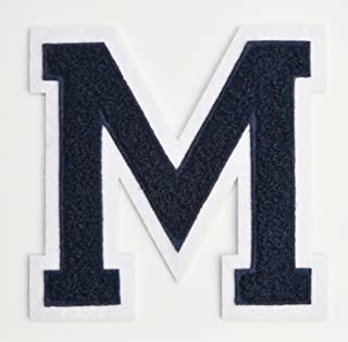 Varsity Letter Patches - Dark Navy Blue Embroidered Chenille Letterman Patch - 4 1/2 inch Iron-On Letter Initials (Navy Blue, Letter M Patch)