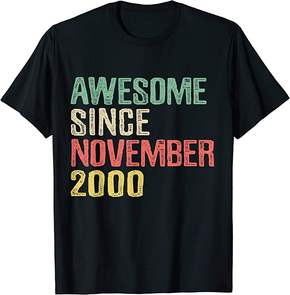 Awesome Since November 2000 19 Years Old 19th Birthday Gift T-shirt