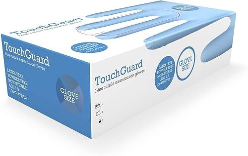 TouchGuard Gants à usage unique bleus en nitrile, non-poudré et sans latex, boîte de 100, taille L