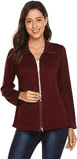Women's Casual Cardigan Long Sleeve Office Blazer Zipper Work Jacket