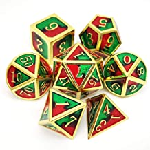 Haxtec Metal DND Dice Set 7 Die D&D Dice for Dungeons and Dragons RPG Games-Gold Red Green(Christmas)