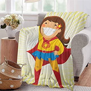 Luoiaax Superhero Children's Blanket Courageous Little Girl with a Big Smile in Costume Standing in a Heroic Position Lightweight Soft Warm and Comfortable W70 x L70 Inch Multicolor