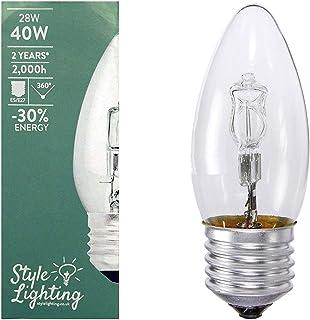 5 x Opus 28 W =40 W vela ES E27 rosca pequeña larga vida claro bombillas halógenas de bajo consumo lámparas